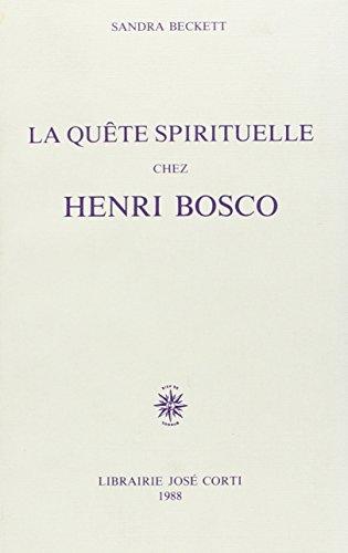 9782714302502: La quête spirituelle chez Henri Bosco (French Edition)