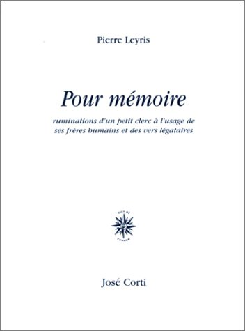 9782714307767: Pour m�moire