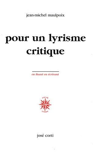 9782714309969: Pour un lyrisme critique