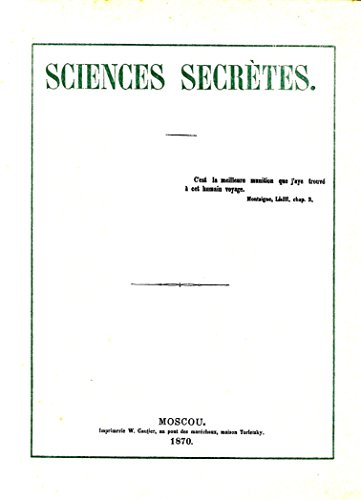 Science Secretes. Biblioteque Ouvaroff. Catalogue Specimen