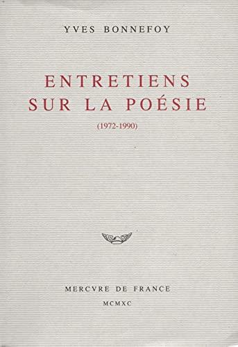 9782715216167: Entretiens sur la poésie: 1972-1990 (French Edition)