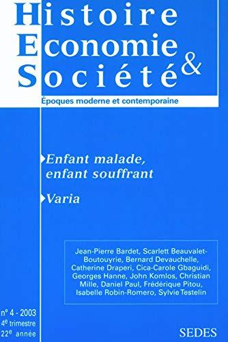 Histoire Economie & Société, N° 4, 4ème: Jean-Pierre Bardet, Scarlett