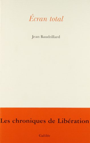 Ecran Total (Collection l'espace critique): Baudrillard, Jean