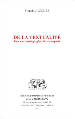9782720011412: De la textualité : Pour une textologie générale et comparée