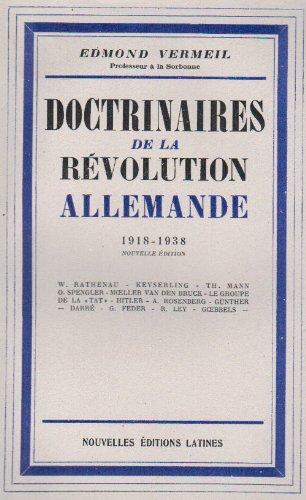 9782723399814: doctrinaires de la revolution allemande 1918-1938
