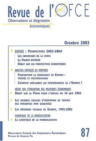 9782724629682: Revue de l'OFCE, N� 87 octobre 2003 : Revue de l'OFCE : Observations et diagnostics �conomiques (Revue OFCE)