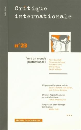Critique internationale, N° 23 avril 2004 : Alain Dieckhoff; Christophe