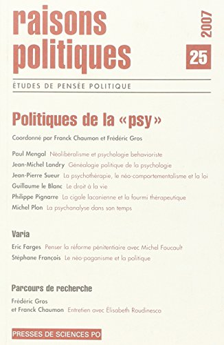 9782724630770: Raisons politiques, N� 25, f�vrier 2007 : Politiques de la psy