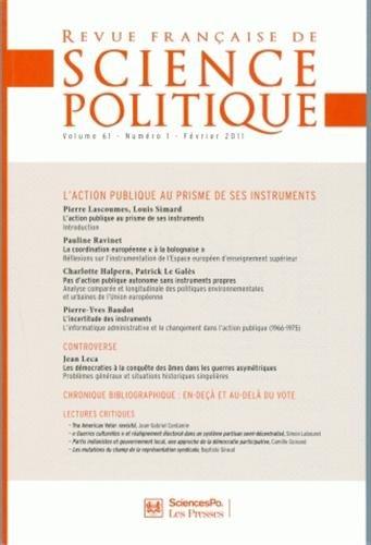 9782724632293: Revue française de science politique, Volume 61 N° 1, Févr : L'action publique au prisme de ses instruments