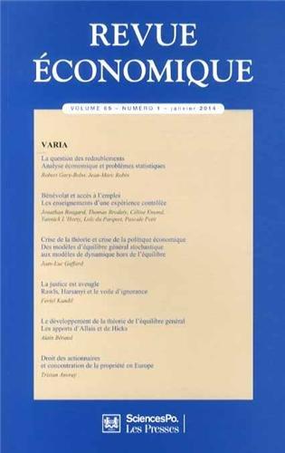 Revue économique, Volume 65 N° 1, Janvier 2014 : Varia: Thierry Kamionka