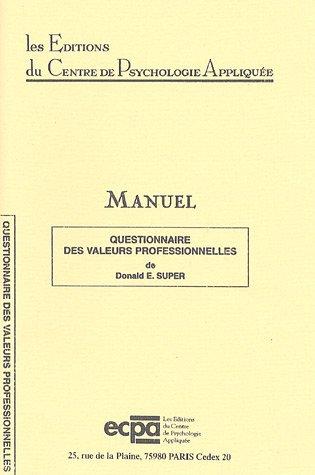 9782725401911: Questionnaire des valeurs professionnelles : Matériel complet