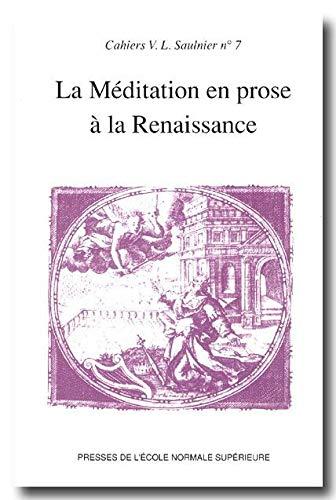 La mediation en prose a la Renaissance: Collectif