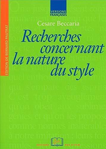 9782728802647: Recherches concernant la nature du style (Versions Françaises)