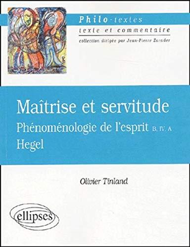 Hegel, maitrise et servitude, phénoménologie de l'esprit: Hegel, Georg Wilhelm