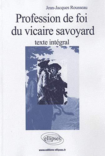 9782729861254: Profession de foi du vicaire savoyard