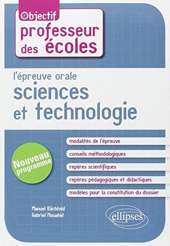 9782729883867: L'Épreuve Orale Sciences et Technologie CRPE Nouveau Programme