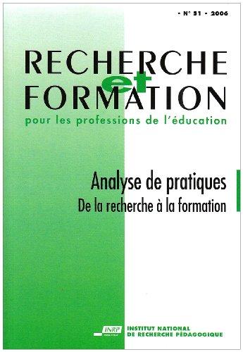 9782734210337: Recherche et formation, N° 51/2006 : analyse de pratiques : De la recherche à la formation