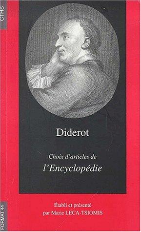 9782735504862: Diderot, choix d'articles de l'Encyclopédie