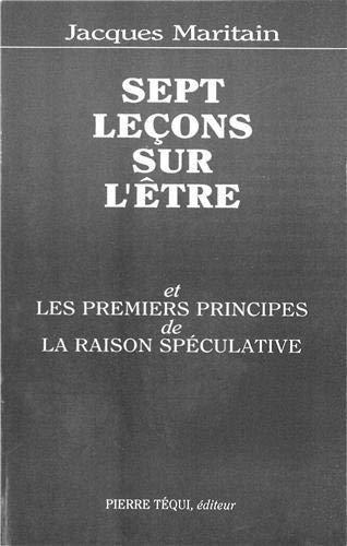 9782740300503: Sept leçons sur l'Etre et les premiers principes de la raison spéculative, 1934