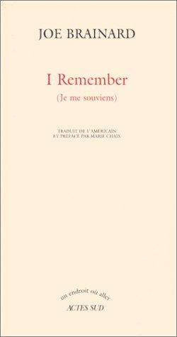9782742712748: I remember, je me souviens