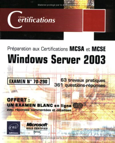 9782746021488: Windows Server 2003 - examen 70-290