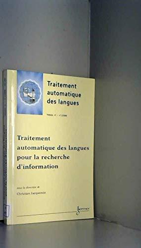 9782746202252: TRAITEMENT AUTOMATIQUE DES LANGUES POUR LA RECHERCHE D'INFORMATION