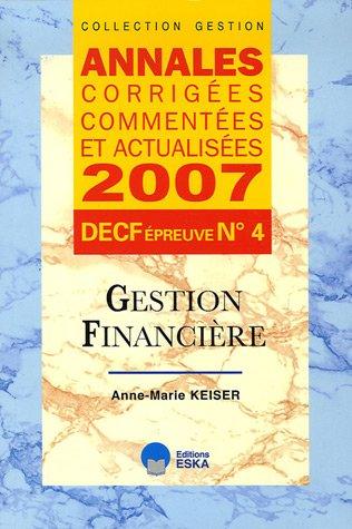 9782747211840: Gestion financiere DECF epreuve n°4 (French Edition)