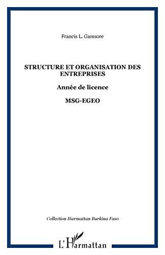 9782747576734: Structure et organisation des entreprises année de licence MSG-EGEO