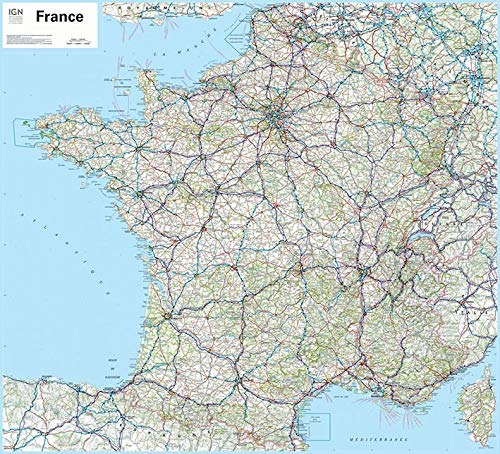 9782758532460: France Flat Map Laminated 2014: IGN70035.PP