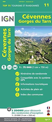 IGN 75 000 Touristische Wanderkarte 11 Cevennes - Gorges du Tarn