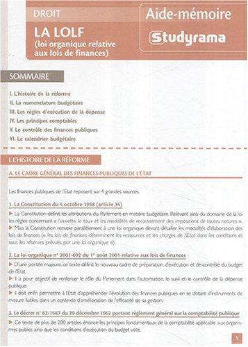 La LOLF (loi organique relative aux lois: Christophe SINNASSAMY