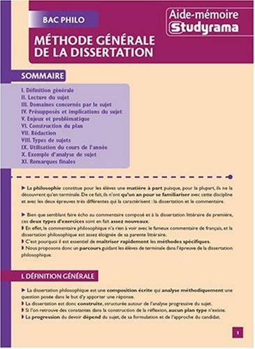 9782759004461: Methode generale de la dissertation - bac philo (Aide-mémoire)