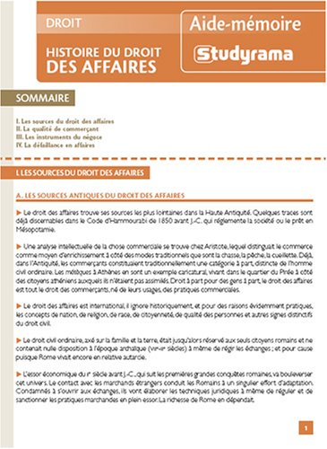 9782759005208: Histoire du droit des affaires (French Edition)