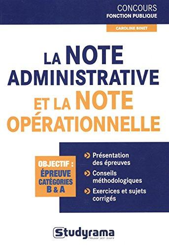 9782759019106: La note administrative et la note op�rationnelle