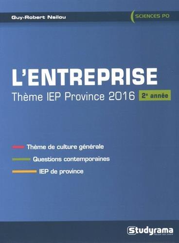 9782759027859: Entreprise : Thème IEP province 2016 (2e année)