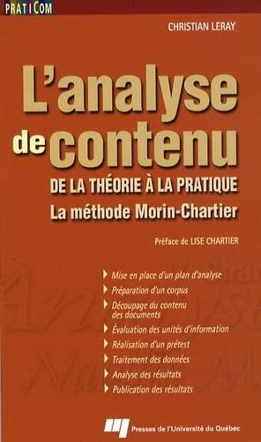 9782760515871: L'analyse de contenu : De la théorie à la pratique, la méthode Morin-Chartier