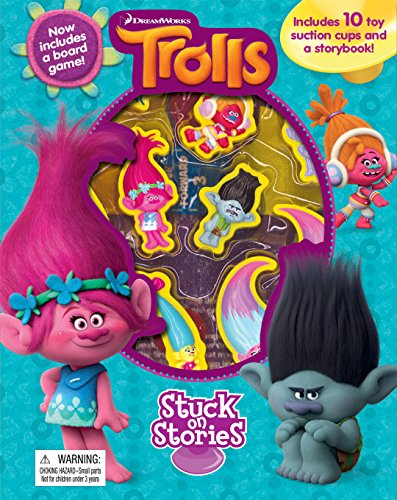 Trolls Stuck On Stories Book With 10 Toy Suction Cups And Game Board