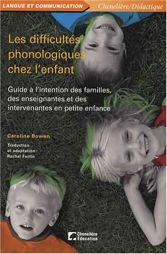 9782765016021: difficultes phonologiques chez l'enfant