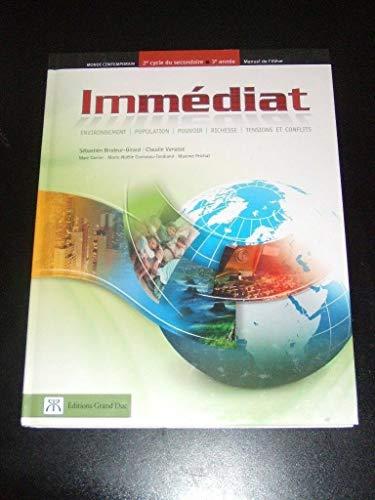 9782765503156: IMMEDIAT Monde Contemporain - 2e cycle du secondaire - 3e annee : manuel de l'eleve