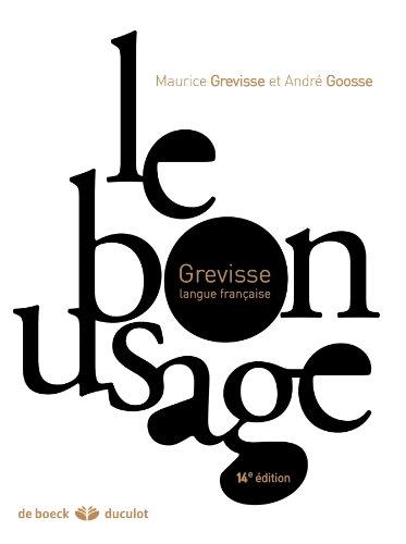 9782801114049: Le bon usage : Grammaire française (French Edition)