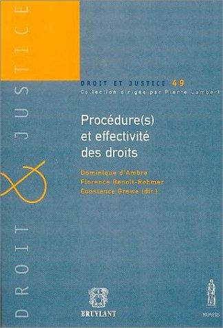 les procedures et effectivites des droits: Constance Grewe, Dominique d' Ambra, Florence ...