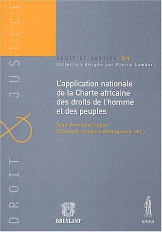 l'application nationale de la charte africaine des droits de l'homme et des peuples: ...