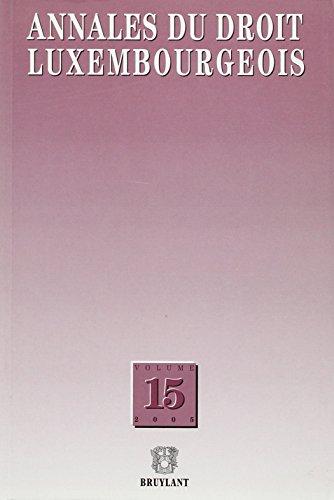 annales du droit luxembourgeois. volume