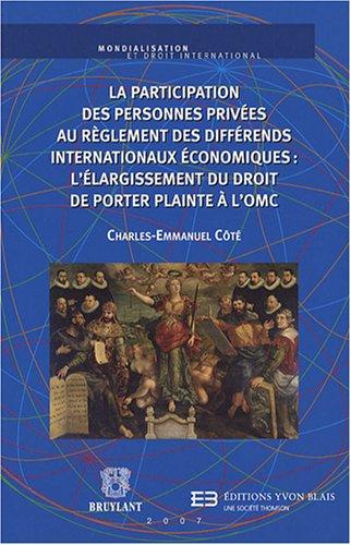 la participation des personnes privées au règlement des différends ...