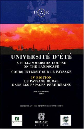 """""""université d'été ; cours intensif sur le paysage (4e édition..."""