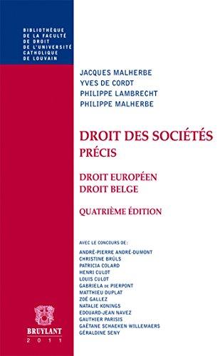 """""""droit des sociétés ; droit européen, droit belge (4e édition)&..."""