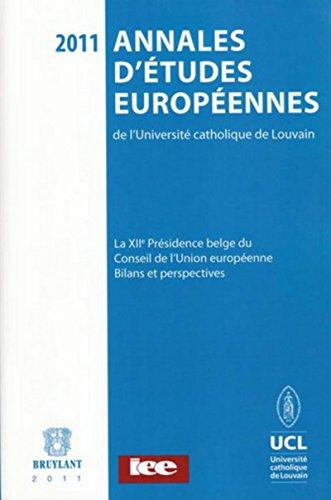 ANNALES ETUDES EUROPEENNES DE L UCL: COLLECTIF VOL 9/2011