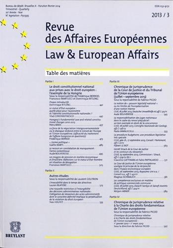 9782802745778: Revue des Affaires Europ�ennes, 2013/3 : Law & European Affairs