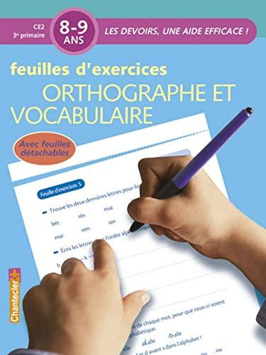 9782803448401: Orthographe et vocabulaire 8-9 ans : Feuilles d'exercices