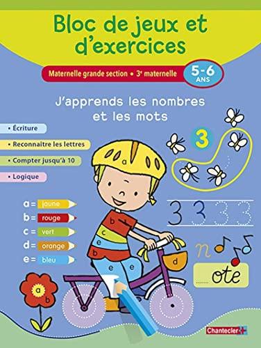 9782803457335: Bloc de jeux et d'exercices - J'apprends les nombres et les mots (5-6 a.): Écriture - Reconnaître les lettres - Compter jusqu'à 10 - Logique